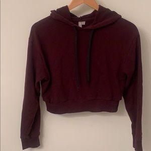ASOS maroon cropped hoodie